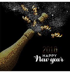 Happy new year 2016 gold drink bottle party mosaic vector