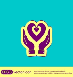 Hand holding a heart icon isolated symbol vector