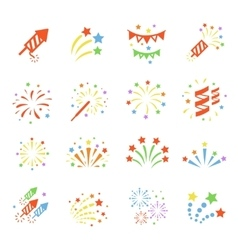 Firework color icon set with burst petard stars vector