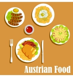 Austrian cuisine dinner dishes and salad vector