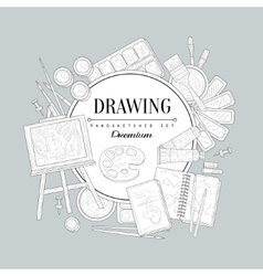 Drawing set vintage sketch vector