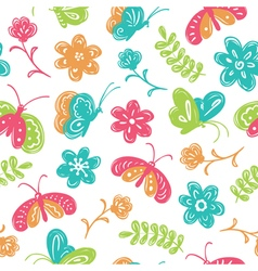 buterfly and flowers seamless pattern vector image