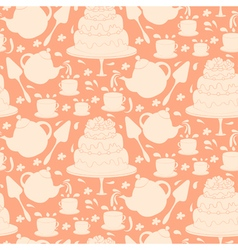 Seamless pattern of tea pot with cake and cups vector