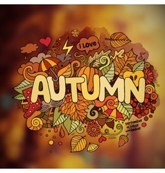 Autumn season hand lettering and doodles elements vector image