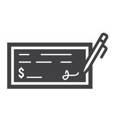 Bank check glyph icon business and finance pen vector