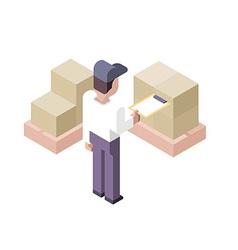 Cargo checking distribution center vector