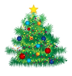 Christmas decorated tree on white background vector image vector image