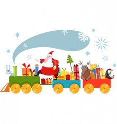 Christmas train vector