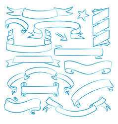 collection of hand drawn banners vector image