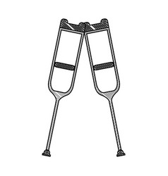 Color pencil pair of medical crutches icon vector