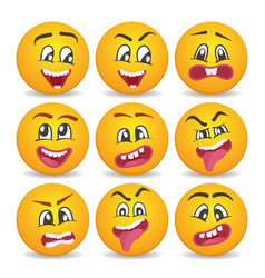 Comic yellow faces icons set for web vector