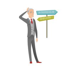 Confused caucasian man choosing career pathway vector