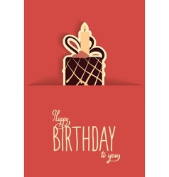 cute happy birthday card with cupcake vector image vector image