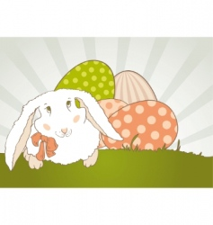 easter bunny with egg retro vector image vector image