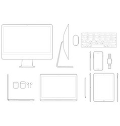Electronic device technical drawings vector