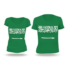 Flag shirt design of saudi arabia vector