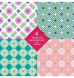 Four seamless pattern with rhombus vector image vector image
