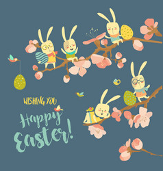 funny easter bunnies with flowering branches vector image vector image