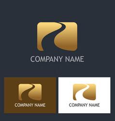 Gold road success company logo vector