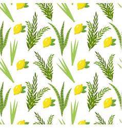 Happy sukkot seamless pattern jewish holiday huts vector