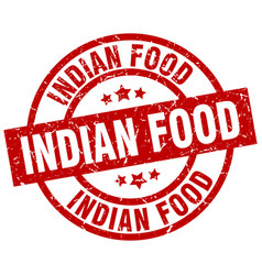 Indian food round red grunge stamp vector