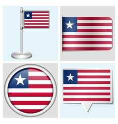 Liberia flag - sticker button label flagstaff vector image vector image