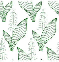 lily of the valley contour pattern vector image vector image