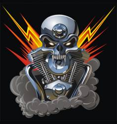 metal skull with engine vector image vector image
