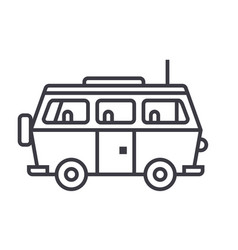 minivan travelfamily car line icon sign vector image