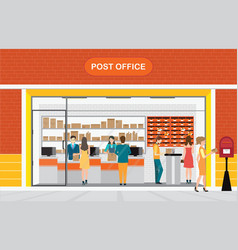 modern exterior and interior of post office vector image vector image