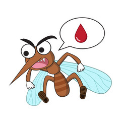 Mosquito in cartoon style isolated on white vector