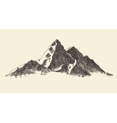 Mountains contours engraving hand draw vector