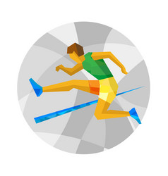 Obstacle race runner jumping on white background vector