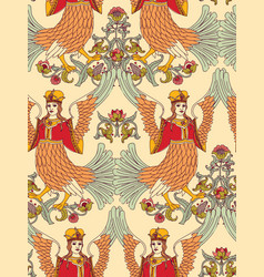 old slavic vintage ornament bird seamless pattern vector image vector image