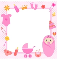 pink frame with baby girl elements vector image vector image
