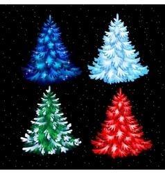 Postcard four shiny Christmas tree vector image vector image
