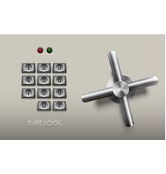 realistic safe lock metal element on white vector image vector image
