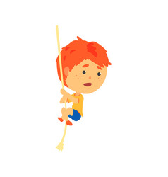redhead boy climbing up the rope kids physical vector image