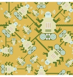 seamless Robot patterncartoon vector image vector image