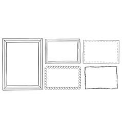 set of vintage ornamental frames hand drawn doodle vector image