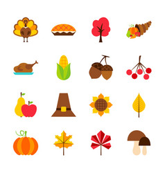 thanksgiving day objects vector image vector image