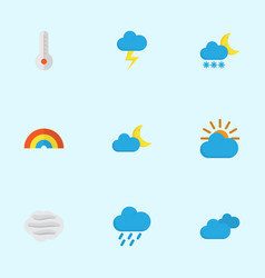Weather flat icons set collection of frosty the vector
