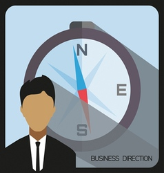 Business direction with a person and compass flat vector