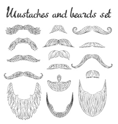 Man hair mustache beards collection hipster vector