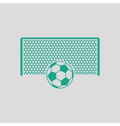 Soccer gate with ball on penalty point icon vector