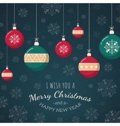 Christmas tree toys on snowflakes backdrop vector