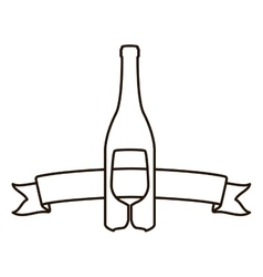 Contour with bottle wine and goblet vector