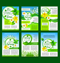Spring flower green leaf poster template design vector