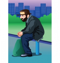 Homeless man vector
