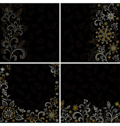 Set abstract floral backgrounds vector